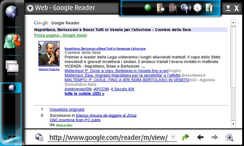 Uno screenshot di un articolo visto da Google Reader Mobile