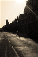 dreaming spires (ladyinpink) Tags: road light church sepia cyclist spires oxford dreams colleges highstreet oxforduniversity dreamingspires