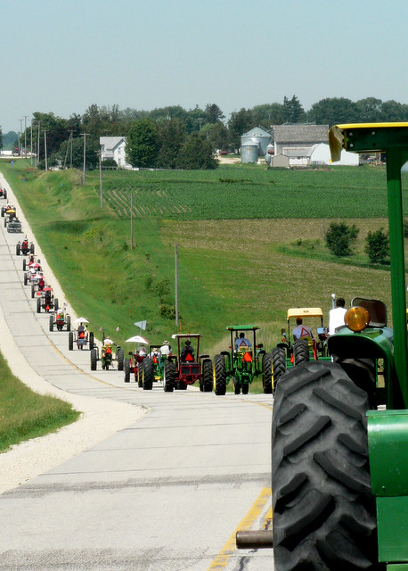 tractors on the highway