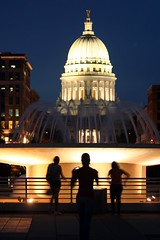 Posing (slambo_42) Tags: street camera girls light fountain silhouette wisconsin night three candid capitol madison dome photowalk metaphotography triple wi soe mononaterrace bendinglight canonef75300mmf456iii twtmealphabet twtmeplaces mfnw001