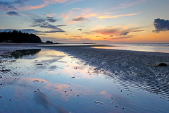 Appley Beach (needles1976) Tags: ocean sunset sea sun sunlight reflection beach water clouds bay sand surf waves patterns tide side isleofwight isle tranquil wight appley