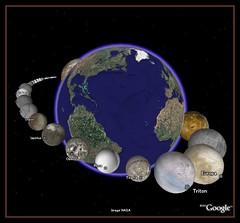 (グーグルアース)で太陽系34個の衛星たちと地球を比較