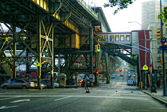 HARLEM AWAKES (SkyShaper) Tags: street nyc newyorkcity morning trestle train subway arch harlem manhattan broadway el elevated 125thstreet skyshaper irtviaduct