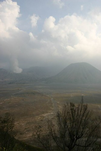 From the crater rim with Batok and Bromo volcanoes in the back...