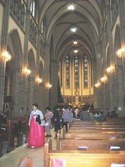 Myeong-dong Cathedral and woman in hanbok