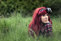 Holly Spencer (Jordan Green) Tags: trees light red summer green girl beautiful face grass shirt canon hair photography 50mm big check pretty 14 natura down scene holly jordan hardcore bow 5d spencer lay markii