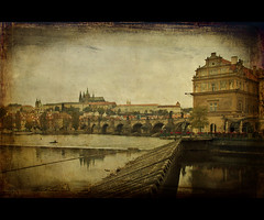 Postcard from Prague (Barry_Madden) Tags: city bridge castle texture skyline buildings river cityscape prague cathedral praha el textures charlesbridge oldtown oldcity 2010 praguecastle skeletalmess