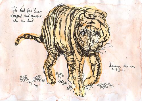 tiger grrrl -- art taxidermy pen draw tiger bears creature pasquinade gummi likes moo monster