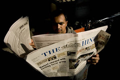 News Paper Reader at New Delhi Railway Station (Captain Suresh Sharma) Tags: life morning light india holiday news man english print reading morninglight concentration photo newspaper media waiting asia break image reader delhi platform young railway tourist daily traveller railwaystation busy iit language passanger press interest newdelhi engrossed timepass thehindu railwayplatform wideangleshot englishdaily breakjourney