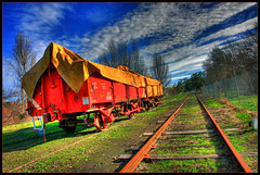 Wagon Train (Stephen Kinna Photography) Tags: sky clouds train wagon track tracks railway healesville victoria tourist glen yarra hdr carriages hdrextremes colorphotoaward bestthebest