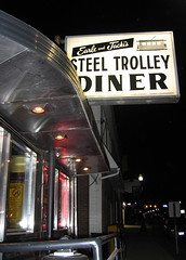 Earle & Jacki's Steel Trolley Diner (~ Liberty Images) Tags: ohio usa night canon vintage shiny nightshot lisbon steel steelbuilding diner powershot retro nighttime americana oh 50s a80 us30 route30 lincolnhighway lisbonohio vintageamericana steeltrolleydiner