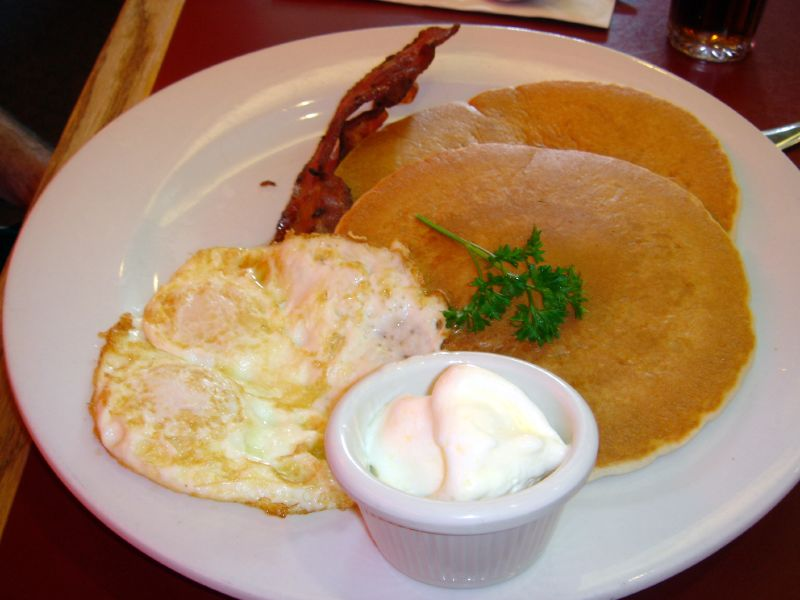 Pancakes and Eggs Breakfast