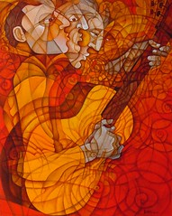 Man and Guitar (Paul N Grech) Tags: art modern painting paul energy guitar contemporary charlie oil jobim lespaul byrd cubist vibe cubism grech paulgrech