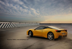 Ferrari 458 Italia | Drifting (Tareq Abuhajjaj | Photography & Design) Tags: show roof sky cloud sport yellow race speed drag design 3d cool nice nikon italia break plate ps ferrari saudi carbon fiber rims riyadh drifting drift ggg spoiler  cs4 070  458 tareq    handbreak        d700  foilacar tareqmoon tareqdesign  0504233328