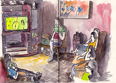 watching the game (MarceloJose) Tags: people game brasil watercolor sketch tv sopaulo watching estudio roon wordcup