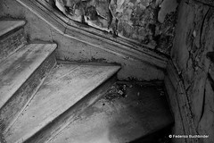 Stairs (/ shadows and light) Tags: old wallpaper bw texture abandoned monochrome stairs decay steps manitoba derelict decayed baseboard carberry ruralexploration rurex lyonsmanor