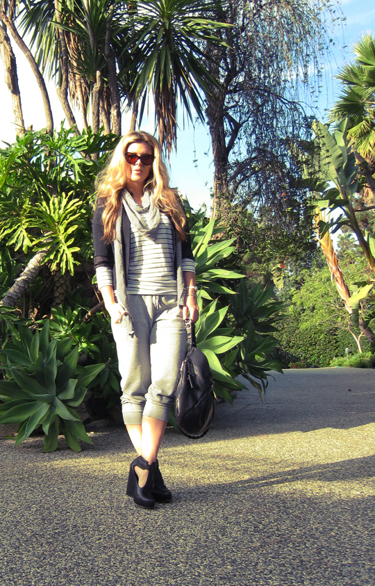 trees in beverly hills+cat eye sunglasses+tom ford sunglasses+long hair+sweatpants+harem sweats+wedge tstraps+ph