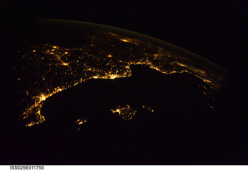 "Mediterranean Riviera (NASA, International Space Station Science, 11/04/10) <i>Editors Note: This is part of a small photoset, ""NASA Views Earth at Night."" Ill try to keep adding as time permits. <a href=""http://www.flickr.com/photos/28634332@N05/sets/72157625188331491/"">www.flickr.com/photos/28634332@N05/sets/72157625188331491/</a></i>  From 220 miles above Earth, one of the Expedition 25 crew members aboard the International Space Station aimed a camera through a Cupola window and recorded this night time image of the Mediterranean Riviera and a panorama along the coastline from Valencia, Spain to Livorno, Italy and many points in between including parts of Andorra and Monaco. Islands in the Mediterranean that can easily be delineated in the Nov. 4 picture are the Balearic Islands, as well as Corsica and Sardinia.    Image credit: NASA   View original image/caption: <a href=""http://spaceflight.nasa.gov/gallery/images/station/crew-25/html/iss025e011750.html"" rel=""nofollow"">spaceflight.nasa.gov/gallery/images/station/crew-25/html/...</a>  More about space station science: <a href=""http://www.nasa.gov/mission_pages/station/science/index.html"" rel=""nofollow"">www.nasa.gov/mission_pages/station/science/index.html</a>  Theres a Flickr group about Space Station Science. Please feel welcome to join! <a href=""http://www.flickr.com/groups/stationscience/"">www.flickr.com/groups/stationscience/</a>"