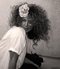 huge white girl afro curls+bw