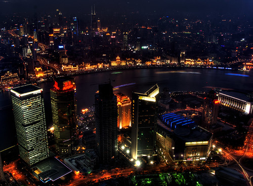 CHINA - Shanghai - Night view on Waitan