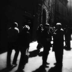 meet up (Jersey Yen) Tags: people bw italy 120 film square florence holga meetup strangers softfocus monochromia feltlife kodakvp6041