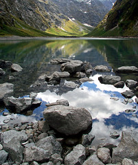 Lake Marian (Daniel Murray (southnz)) Tags: blue newzealand sky mountain lake snow reflection green water rock landscape nationalpark scenery glacier valley nz southisland marian fiordland ushaped southnz superbmasterpiece natureoutpost nz101fiordlandnationalpark