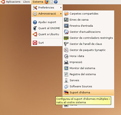 Trobar la configuració d'idioma a Ubuntu