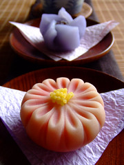 September Wagashi (bananagranola (busy)) Tags: food flower cake japan dessert japanese sweets osaka japanesefood wagashi thepainter