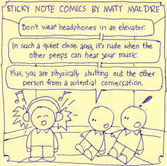 Sticky Note Comics: Headphones on elevator