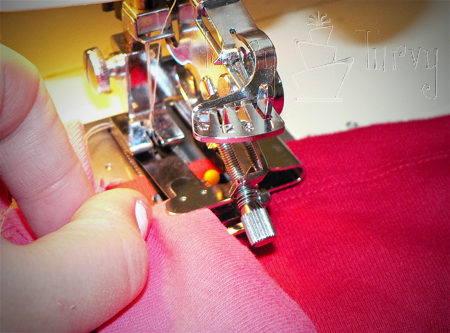 adult t shirt ruffles inserting in ruffler