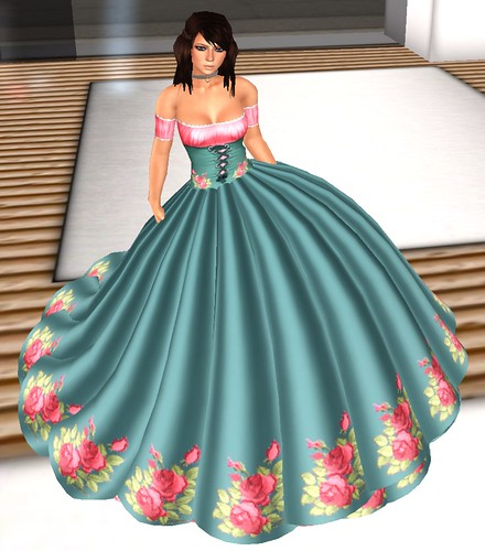 25L Carnal Sins Gown Roses teal ball