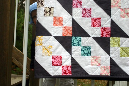 Henna Garden Quilt - hanging with friend