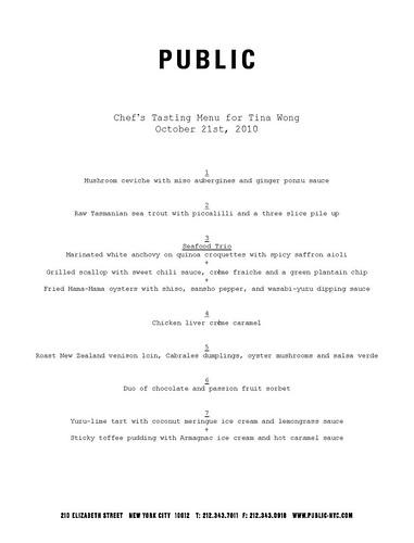 Public's tasting menu