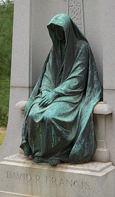 Bellefontaine Cemetery, in Saint Louis, Missouri, USA - Mourning Angel statue at David Rowland Francis grave