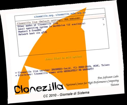 Figura 1 - Clonezilla, schermata iniziale;