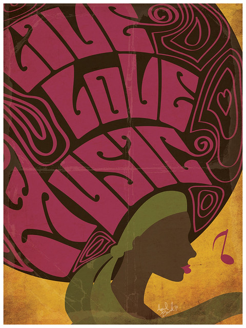 Live, Love, Music Retro Poster