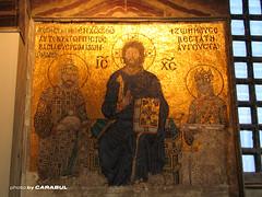 Empress Zoe Mosaic (Carabul) Tags: church museum canon turkey ancient aya mosaic jesus trkiye istanbul mosque powershot trkei orthodox sophia estambul hagia sofya      turqia