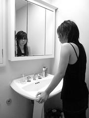 violence (loosepunctuation) Tags: blackandwhite bathroom mirror blackwhite scary makeup sing nightmare