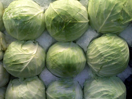 Cabbages stacked in ice at Central Market