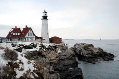 Portland Light house, USCG Cutter between rocks (Maine Coast) Tags: ocean lighthouse maine rocky shore capeelizabeth portlandlighthouse