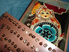matryoshka box (snippets of whimsy) Tags: brown beads sparkle copper handsewn etsy sequins babushka matryoshka russiannestingdolls woodenbox snippetsofwhimsy