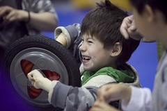 kid with wheel