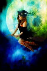 """witchy woman"" 181/365 (zentrinity) Tags: moon halloween witch picnik witchy broomstick witchywoman"