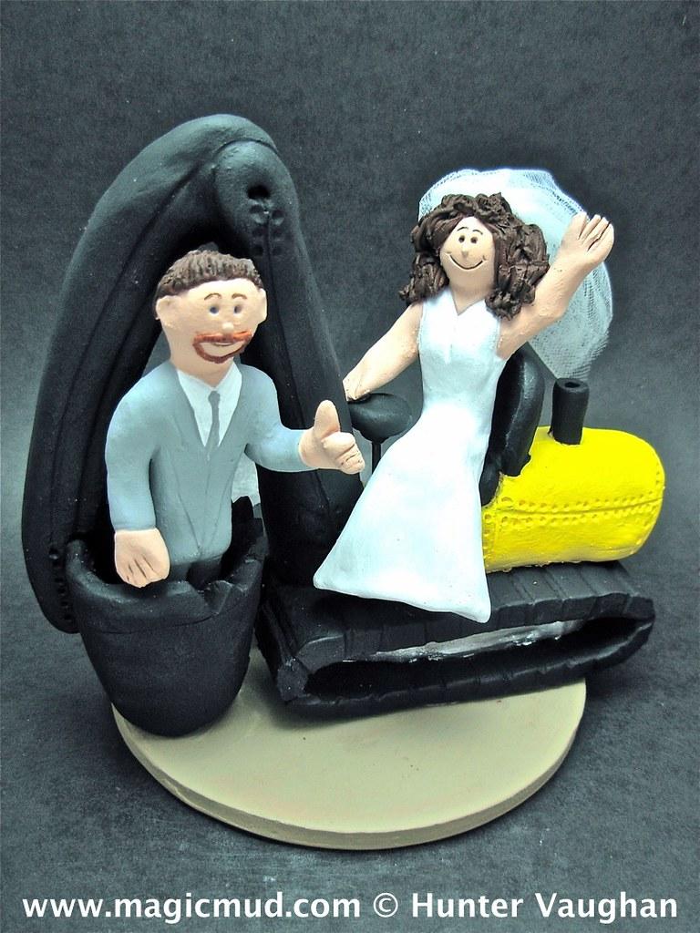 Contractor in Excavator Wedding Cake Topper