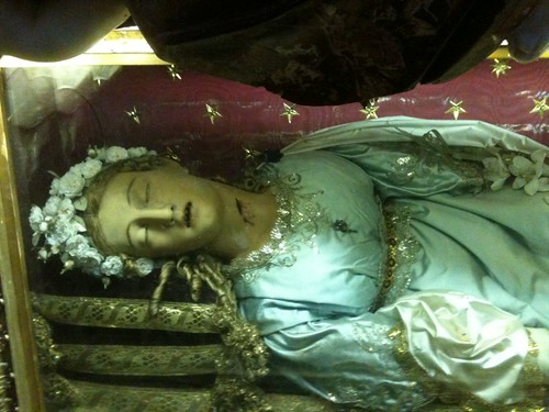 Sculpture of saint's corpse in Santa Maria della Vittoria, Rome