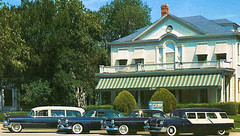Camp Funeral Home, 4202 Live Oak, Ambulance and Hearse, Dallas, Texas, 1958 (Dr. Mo) Tags: dallas texas pcs ambulance deathcare drmo jimmoshinskie funeralhomeambulance oldambulances campfuneralhome funeralcustoms professionalcarsociety