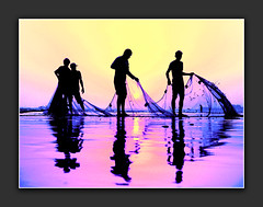 teamwork (!!sahrizvi!!) Tags: ocean pink pakistan sunset sea sun sunlight reflection net beach nature water beautiful silhouette canon fishing fisherman sand fishermen outdoor dusk powershot shore seawater flickrspecial a640 mywinnerstrophy wowiekazowie diamondclassphotographer flickrdiamond passionatelypinkforthecure pinkforthecure pinkforcure