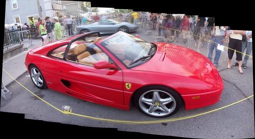 An Autostitch shot of a Ferrari F355 open top.