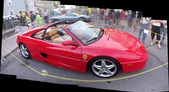 An Autostitch shot of a Ferrari F355 Targa top. (Steve Brandon) Tags: auto show city girls people autostitch panorama ontario canada boys car collage geotagged spider automobile display corsoitalia ottawa teenagers ferrari voiture spyder pedestrians littleitaly  ville sportscar fca barchetta redcar f355 exoticcar   italiancar   prestonst prestonstreet  ferrari355 targatop redcarnation   ferrarif355 ferrarif355spider  ottawaphotography  ruepreston   ferrariclubofamerica ottawaphotographer ferrarif355targa