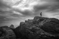 Waiting for the Storm (brun_o) Tags: sky bw seascape clouds contrast rocks solitude noiretblanc nb climbing